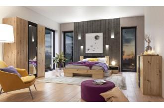 Sypialnia VERA 3D łóżko 140 x 200 dąb Artisan/ dąb Artisan - czarny - lustro 22RCDH..
