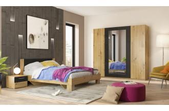 Sypialnia VERA 4D łóżko 180 x 200 dąb Artisan/ czarny
