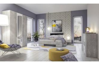 Sypialnia VERA 3D łóżko 140 x 200 beton Colorado/ beton Colorado - biały - lustro 22YADH