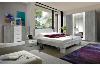 Sypialnia VERA 4D łóżko 160 x 200 beton Colorado/ beton Colorado - biały - lustro 22YADH