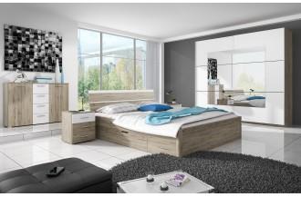 Sypialnia BETA łóżko 160 x 200 ze stelażem San remo jasne/ biały