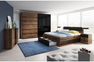 Sypialnia GALAXY łóżko 140 x 200 ze stelażem wstawki czarny połysk