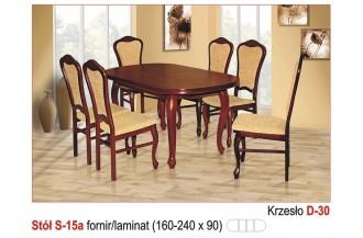 Zestaw stół S15A + 6 krzeseł D30