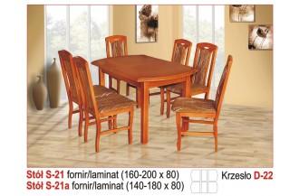Zestaw stół S21 + 6 krzeseł D22