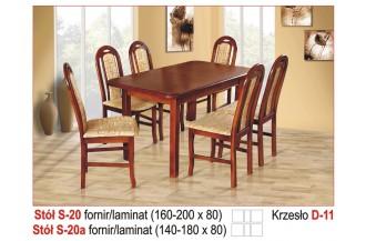 Zestaw stół S20 + 6 krzeseł D11