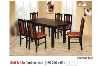 Zestaw stół S13A + 6 krzeseł D2