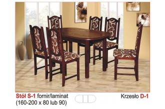 Zestaw stół S1 + 6 krzeseł D1