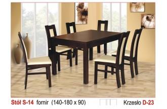 Zestaw stół S14 + 6 krzeseł D23